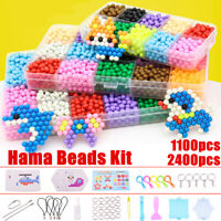 AU 2400Pcs 15 Color Water Sticky Refill Fuse Beads DIY Art Craft Kids puzzle Set