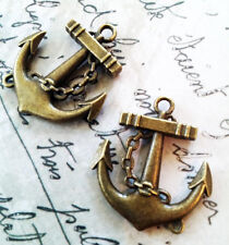 "Anchor Pendant Antiqued Bronze 30mm/1.25"" 2 pcs Nautical Charm Steampunk"