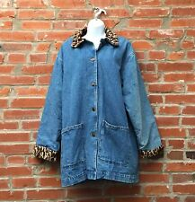 Vintage Denim & Leopard Print Trim Coat Jacket Womens Button Front (1046)