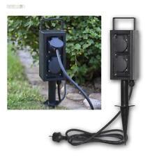 Außen-Steckdose 4-fach 2m Kabel Erdspieß +Griff IP44 Garten-Verteiler-Steck-Dose