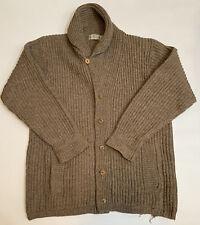Vintage Quaker Marine Supply size Large Beige Wool Sweater Shawl Collar England
