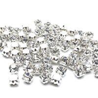 500pcs ss12-3.5mm Sew on Diamante Rhinestone Crystal Clear Sil Grade AAA Glass