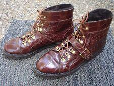 Extraordinary Davanzati Brown ALLIGATOR SKIN Ankle Boot Size 9D -- Made in ITALY