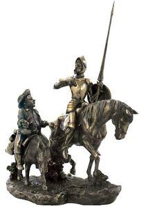 """13.75"""" Don Quixote de la Mancha & Sancho Panza Statue Riding Horse Spain"""