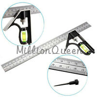 """Hot Selling New 12"""" Sliding Engineers Combination Try Square Set Right Angle"""