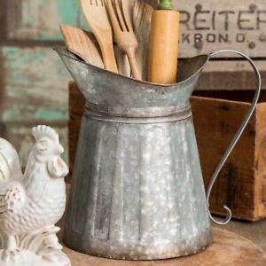 Rustic Galvanized Metal Milk Pitcher Country Farmhouse Kitchen Utensil Holder De