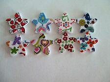 8 x 25mm STAR Shape Wooden Buttons -Flower Design - 2 Holes - No.974