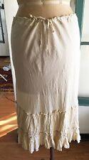 DOSA y Christina Kim Ivory Silk Skirt w Tiered Pleated Ruffle Hem SZ 1 Small