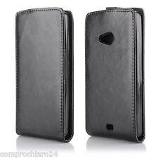 Estuche Negro Cartera Vertical cuero Para Nokia Lumia 535 - Tapa Del Tirón