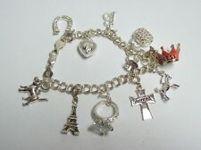 Sterling Charm Bracelet - Pink PRINCESS Crown Purse Horse Heart Horseshoe ETC
