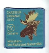 1990 ONTARIO MNR (FRENCH ONLY) MOOSE HUNTER PATCH-MICHIGAN DNR DEER-MOOSE-CREST