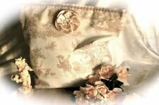 Sac cabas shabby en toile de Jouy pur coton/ écru et beige - fleur de satin