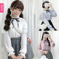 Sweet Lolita Girl Chiffon JK Shirt Collar Base Shirt Blouse Harajuku TEE Tops