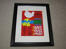 "Framed Woodstock 1969 Concert Mini Poster All Bands Listed, 14""x16.5"" RARE!"