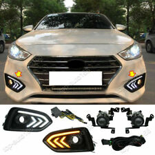 Halogen Front Fog Lamp w/ DRL & Turn Signals Light For 2018-2020 Hyundai Accent