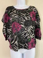 NWT Kiwi Womens Size L Floral Animal Print Poncho Top Short Sleeve