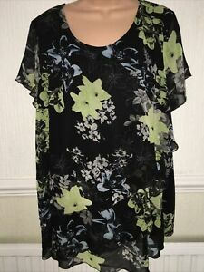 Black Mix Floral Layered Floaty Top Cap  Sleeves. Size 22