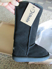 NEW UKALA SYDNEY HIGH FLEECE LINED SUEDE BOOTS GIRLS 8 BLACK  FREE SHIP