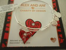 Alex and Ani I LOVE YOU COLOR INFUSION Bangle Shiny Silver New W/Tag Card & Box
