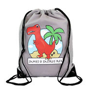 Personalised Red T-Rex Drawstring Grey PE Bag Kids Swimming Gym Kit School