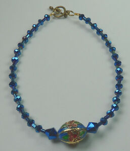 Anklet Midnight Blue Crystal & Flower Cloisonne Handcrafted Foot Ankle Jewelry