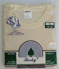 Rocky Thermal Underwear Long Sleeve Shirt Waffle Men's XL 46-48 NOS Vintage