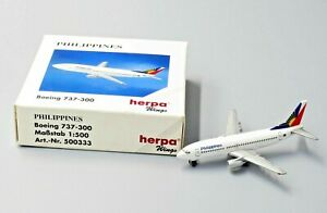 "HERPA WINGS 1:500 SCALE DIECAST "" PHILIPPINES AIRLINES BOEING 737-300 "" 500333"