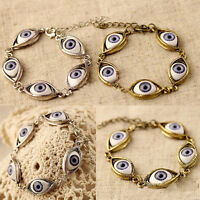 Fashion Lucky Gold/Silver Evil Eye Chain Bracelet Cuff Bangle Women JewelryBJKU