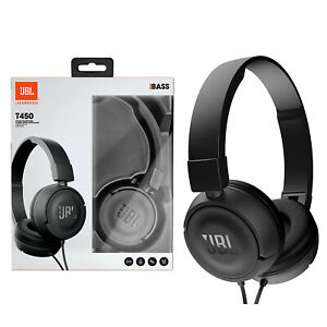 JBL T450 Wired On Ear Pure Bass Stereo Over The Headphone Headset Handsfree BLK