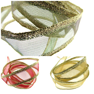 3m x Wired Edge Organza Ribbon with Gold Lurex Edge - 25mm Wide 44071
