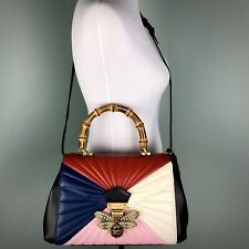 Gucci Bee Queen Margaret Bag Purse Bamboo Handle Pink Colorblock Leather Crystal