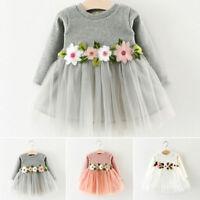 Toddler Infant Baby Girl Princess Dress Flower&Long Sleeve Party Wedding Dresses