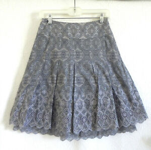 Ann Taylor Skirt Multi-Color Fit-Flared Cotton Layered Size 0P