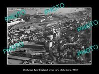 OLD 8x6 HISTORIC PHOTO OF ROCHESTER KENT ENGLAND AERIAL VIEW OF TOWN c1950 3