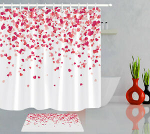 Valentines Day White Background Hearts Fabric Shower Curtain Set Bathroom Decor