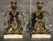 VTG Italian Hollywood Regency Candle Stick Holders Crystals Marble Gold DECO