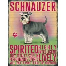 Vintage Style Metal Dog Sign Retro Hanging Plaque Breed Characteristics - 20cm Schnauzer