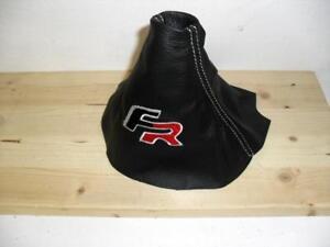 Cuffia leva cambio Seat Ibiza 6L vera pelle nera + ricamo