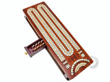 Bloodwood Cribbage Board Inlaid Continuous 2 Tracks - Sliding Lids with Drawer