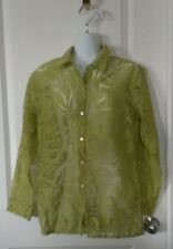 Chico's Lime Green Sheer Floral Print Button Down Blouse Top Size 0