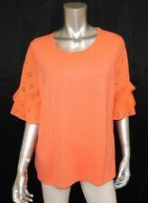 LE GALI NWT Pamela Coral Orange Eyelet Back Ruffle Sleeve Knit Blouse sz L $99