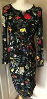 Joe Browns black twisted floral dress size 10 Vibrant Eye Catching