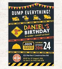 CONSTRUCTION INVITATION Birthday Party Supplies Transportation Invite Dump Truck