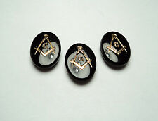 3 PCS. MASONIC 18x13mm OVAL CUSHION BACK GLASS STONES -BLACK -059