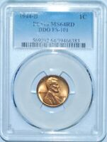 1944 D PCGS MS64RD Red DDO FS-101 Double Doubled Die Obverse Lincoln Cent