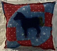 NEW Handmade Horse Pillow Vintage Quilt Old Chenille Bedspread  Patriotic