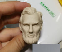 DIY Unpainted White Head Model 1/6 Scale Abraham Lincoln Head Carving Toy