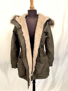 Green Parker Parka Jacket Coat Faux Fur Lined Detachable Hood Sizes 8  12 14