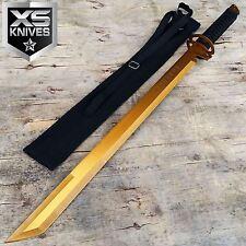 "27"" Gold Full Tang Blade Machete Tactical Katana Ninja Sword w/Sheath"