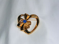 PRETTY Goldone AVON Blue Rhinestone Open Heart with Bow Brooch Pin N1